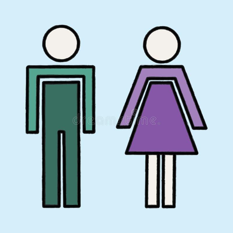 Illustrstion do vetor de silhuetas do homem e da mulher ilustração royalty free