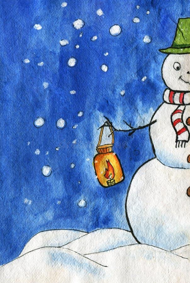 Illustrtion акварели Счастливый снеговик со шляпой дальше и шарфом, держа фонарик с горя свечой Голубое небо, идя снег, куча снег иллюстрация штока