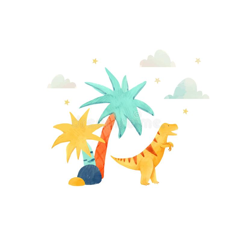 Illustrtion вектора динозавра акварели иллюстрация вектора
