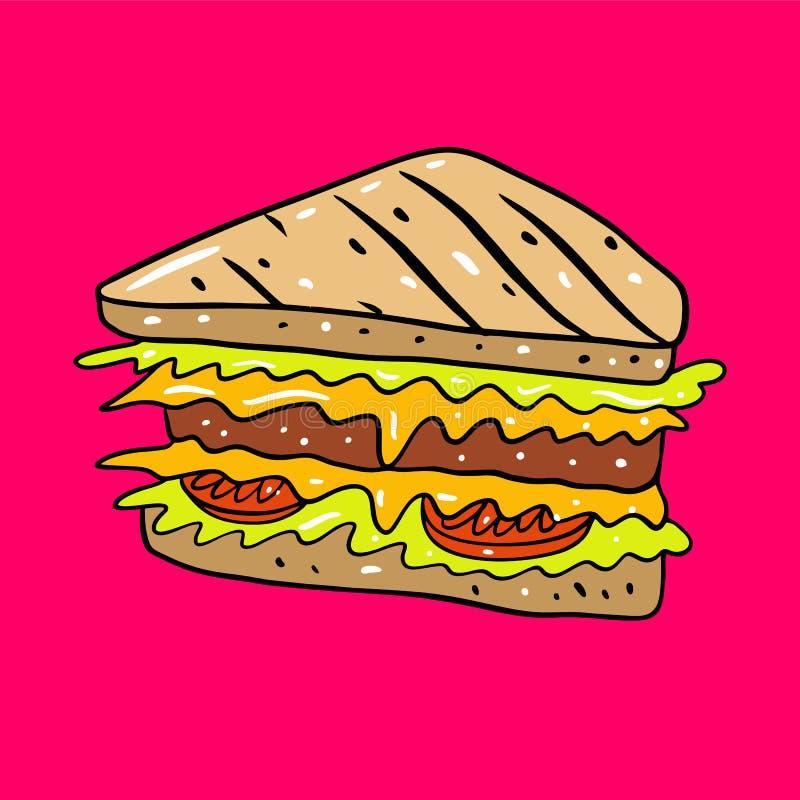 Illustrtion вектора руки сэндвича вычерченное r Милая еда Изолированный на розовой предпосылке бесплатная иллюстрация