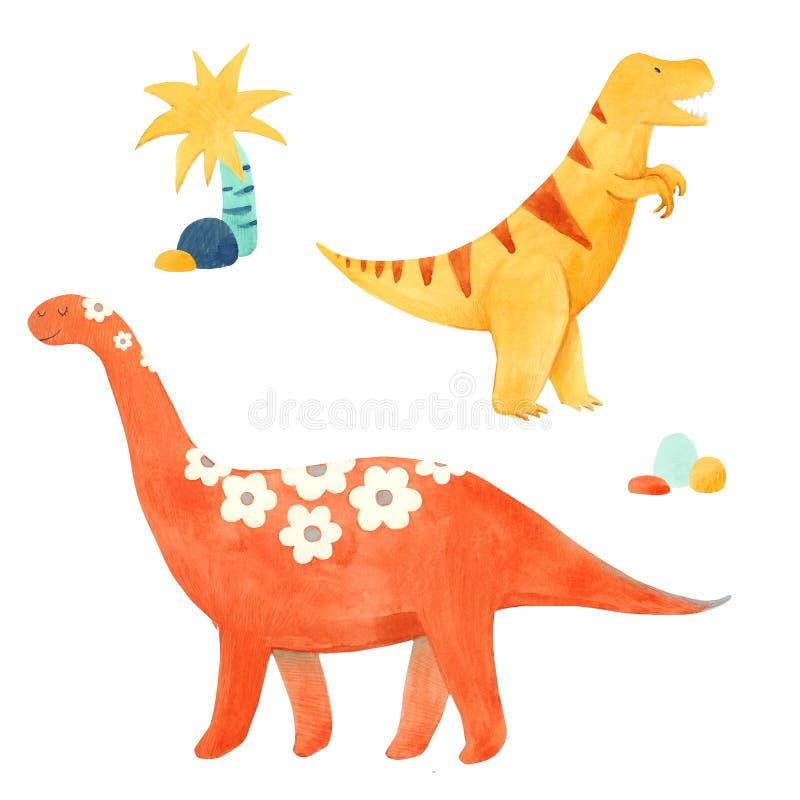 Illustrtion динозавра акварели иллюстрация вектора