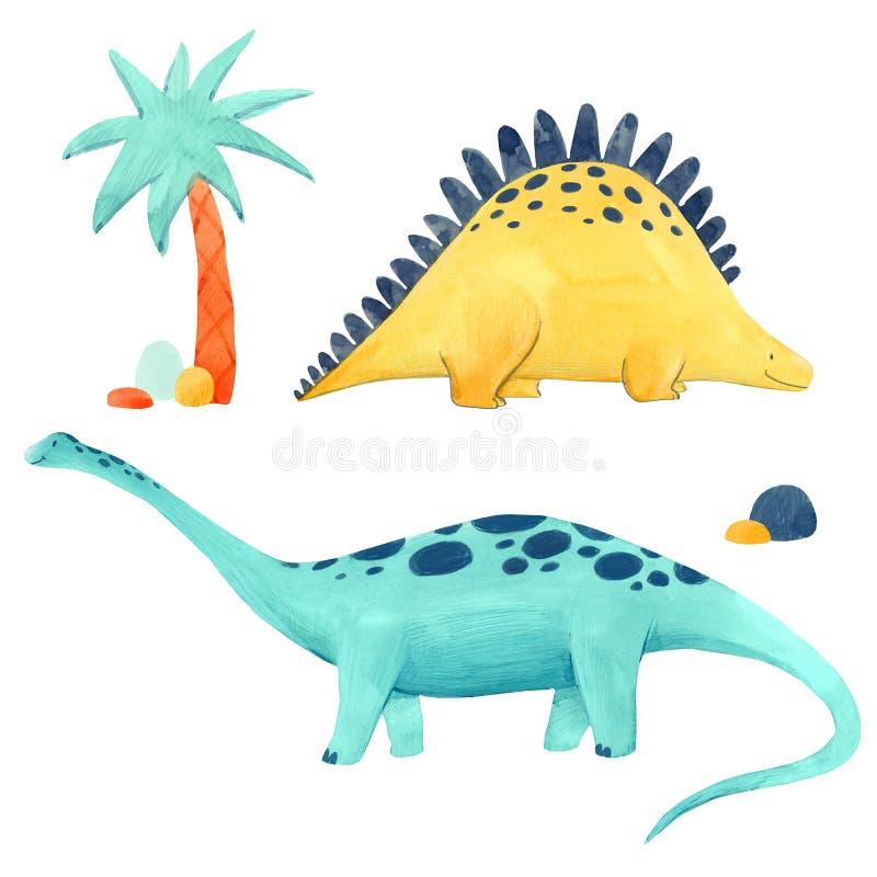 Illustrtion динозавра акварели иллюстрация штока