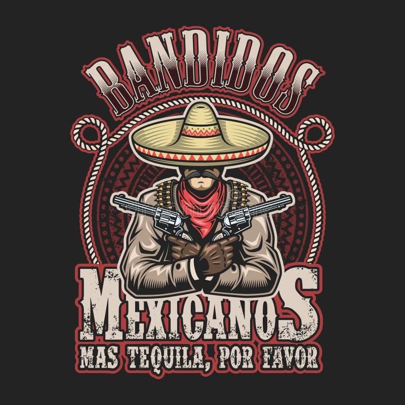 Illustrtion do vetor do molde mexicano da cópia do bandido ilustração stock