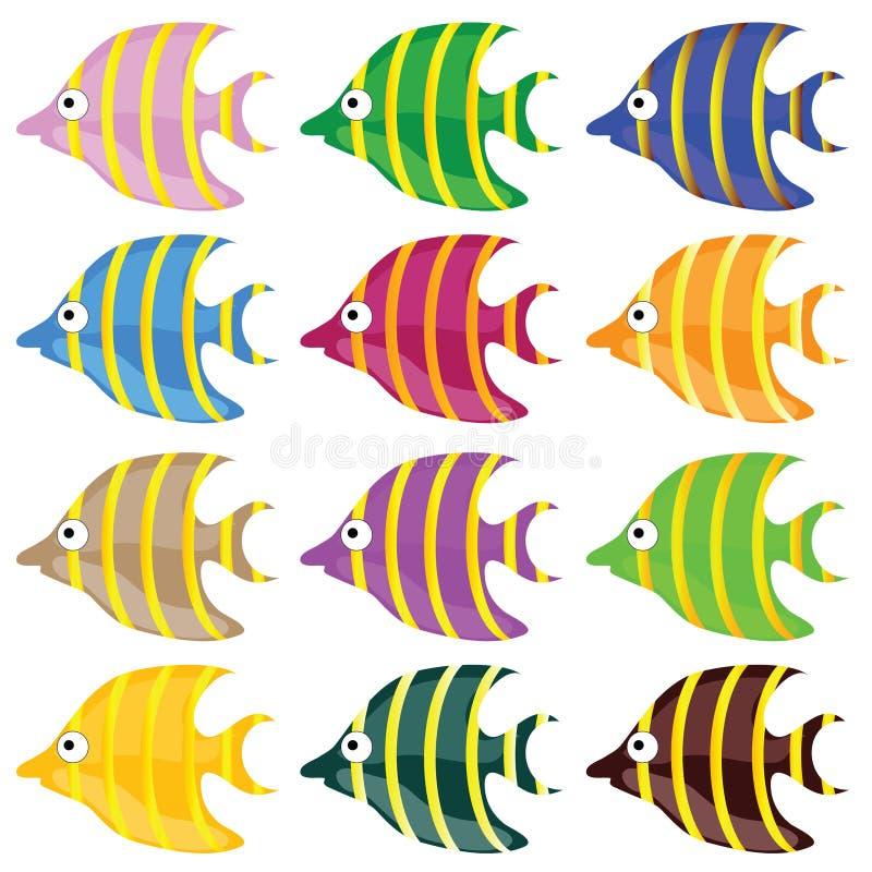 Illustrtion doce e engraçado do vetor da cor dos peixes ilustração royalty free