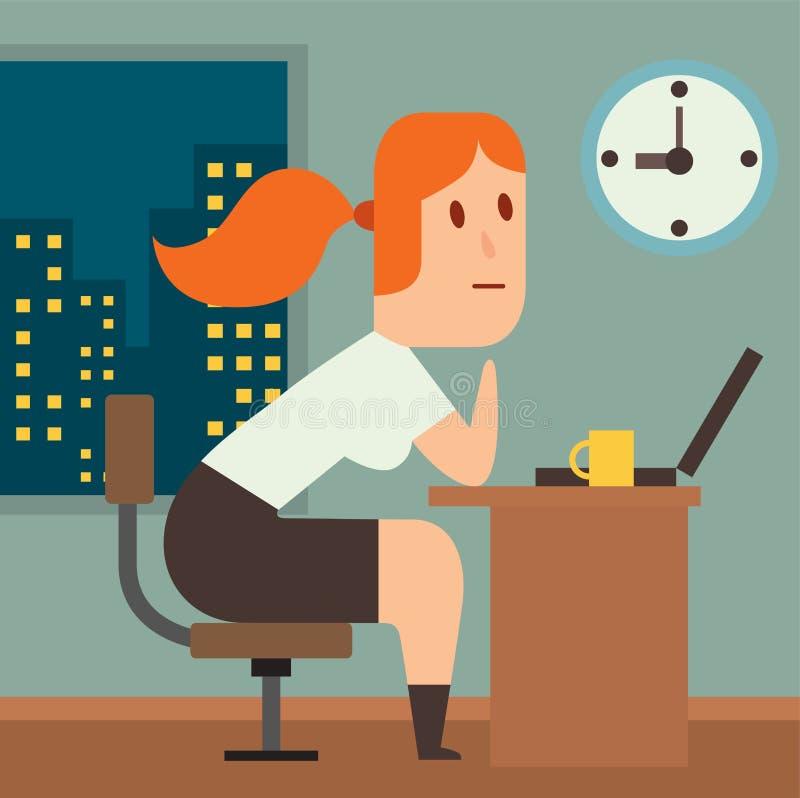 Illusutration de vecteur de retard de délai de travail d'affaires illustration libre de droits