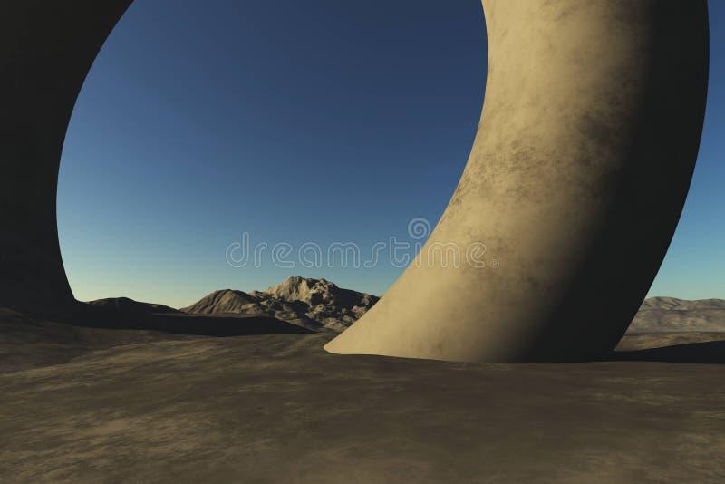 Illutstration surrealista del fondo de la montaña libre illustration