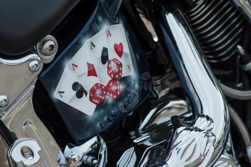 retail of  Las Vegas painting on Harley Davidson motorbike parked in the street royalty free stock photography