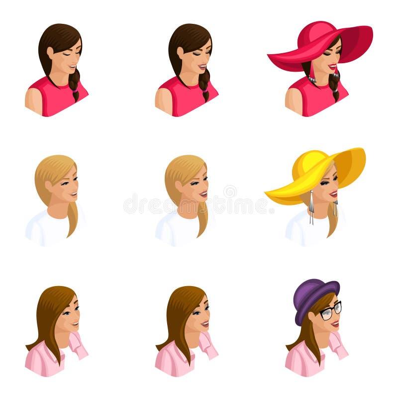 Ilość Isometry, set 3D avatars różne dziewczyny z emocjami, 3 typami makijaż, dniem i wieczór z akcesoriami, royalty ilustracja