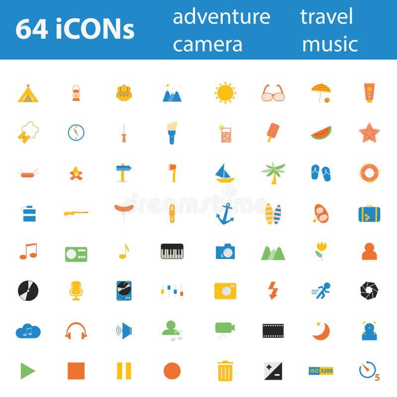 64 ilość projekta nowożytnej ilustracyjnej ikony ustawiającej ilustracja wektor