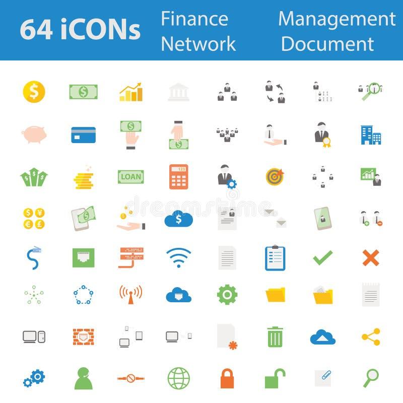 64 ilość projekta nowożytnej wektorowej ilustracyjnej ikony ustawiającej ilustracji