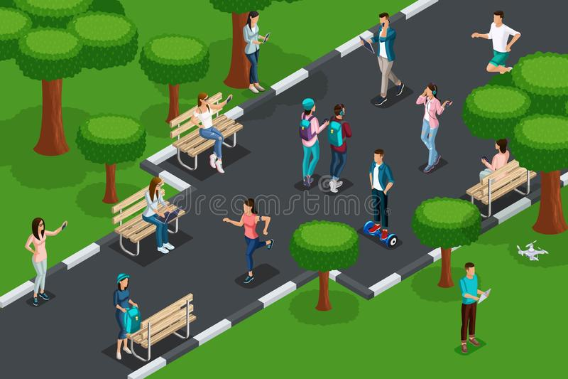 Ilości isometrics pojęcie odtwarzanie i rozrywka młodzi ludzie w parku z laptopami z pastylkami, ilustracja wektor