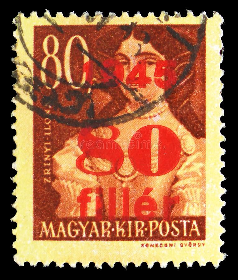 Ilona Zrinyi 1643-1703, Surcharged serie, circa 1945. MOSCOW, RUSSIA - JULY 19, 2019: Postage stamp printed in Hungary shows Ilona Zrinyi 1643-1703, Surcharged royalty free stock photos