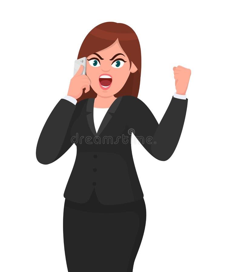 Ilsken affärskvinna som talar på smartphonen och ropar eller skriker och lyfter nävegest Teknologi-, telefon- och människasinnesr royaltyfri illustrationer