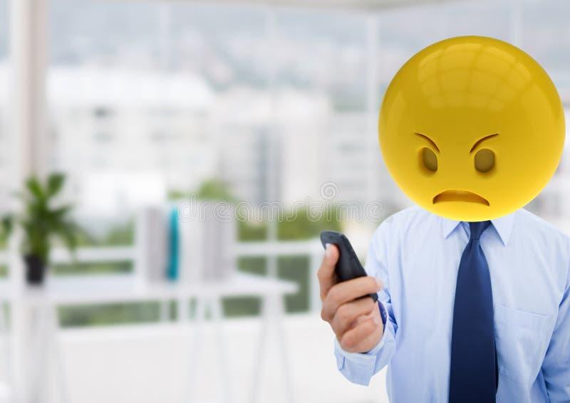 Ilsken affärsman därför att ett meddelande Emoji vänder mot stock illustrationer
