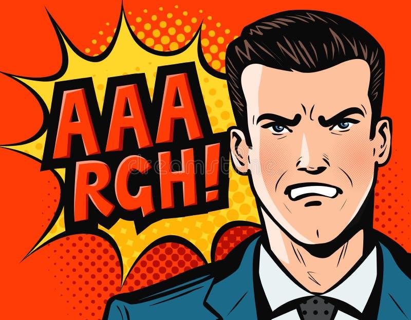 Ilsken affärsman eller man i affärsdräkt Retro komisk stil för popkonst den främmande tecknad filmkatten flyr illustrationtakvekt royaltyfri illustrationer
