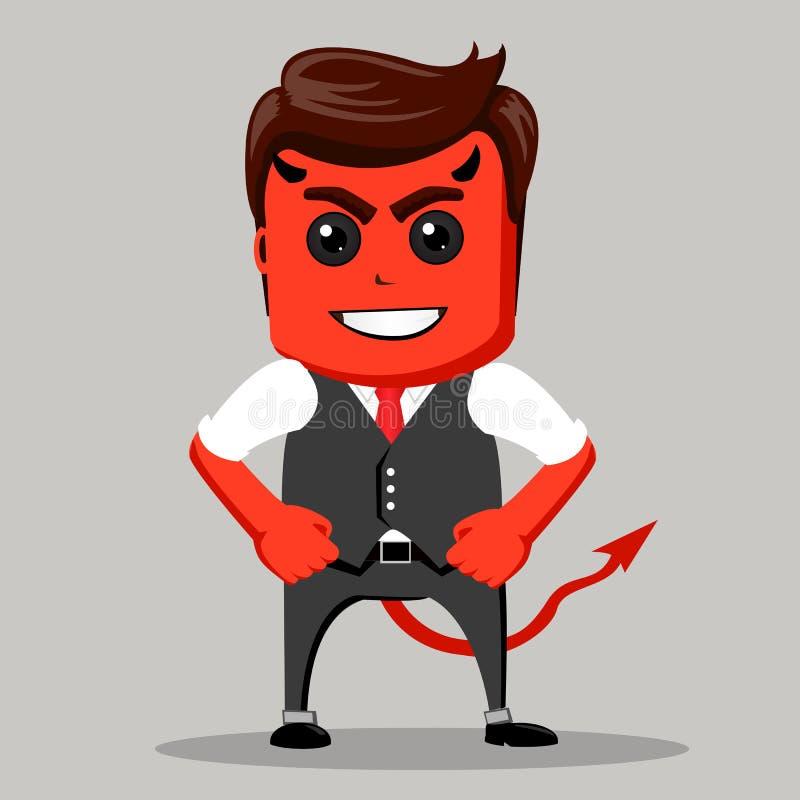 ilsken affärsman Man som en jäkel Affärsman som är röd som en demon vektor illustrationer