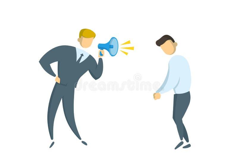 Ilsken affärsman med en megafon som ropar på chefen Pennalism på arbete Plan vektorillustration Isolerat på royaltyfri illustrationer