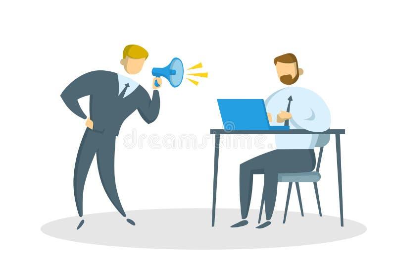 Ilsken affärsman med megafonen som ropar på chefen i kontoret Pennalism på arbete Plan vektorillustration isolerat royaltyfri illustrationer