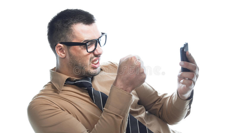 ilsken affärsmantelefon arkivfoto