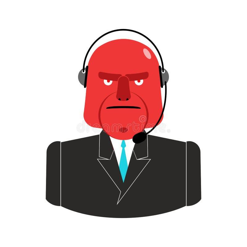 Ilsken appellmitt Röd man med hörlurar med mikrofon Aggressiv operatörsavgift stock illustrationer