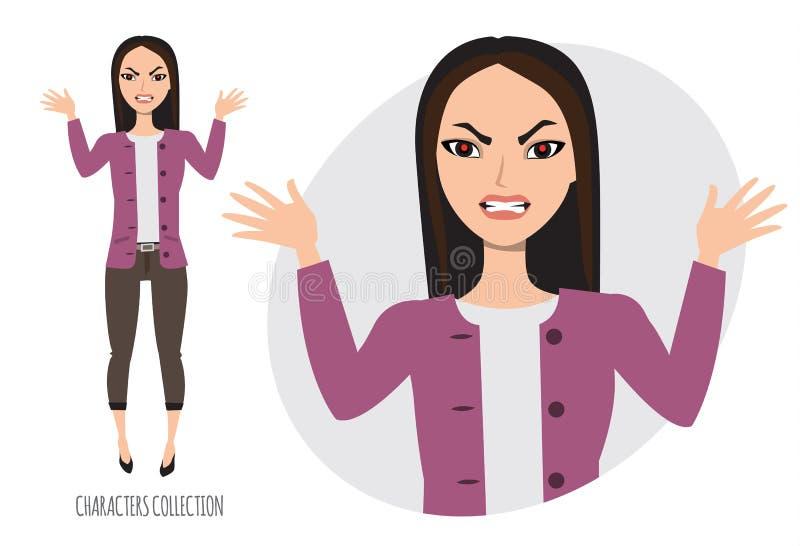 Ilsken asiatisk kvinna i spänning stock illustrationer
