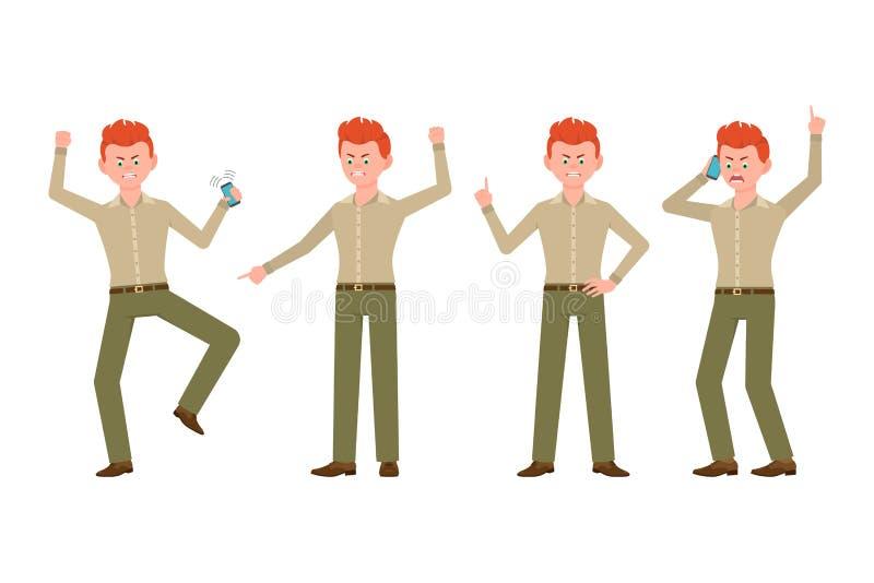 Ilsken, belastad, desperat olycklig man i grön flåsandevektorillustration Ropa och att peka fingret, pojketecknad filmtecken - up royaltyfri illustrationer