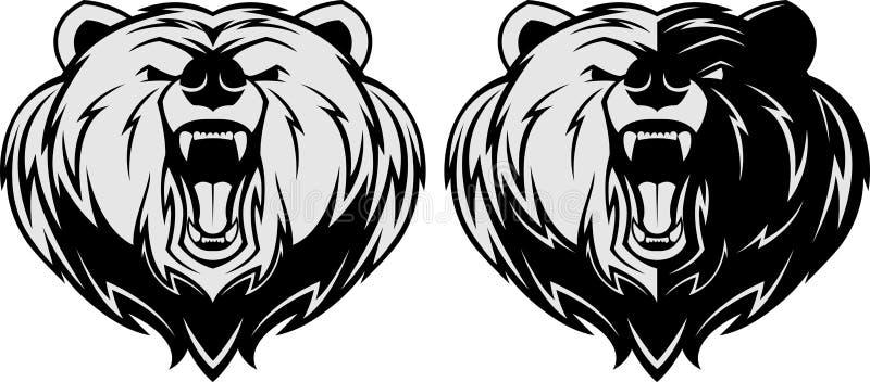 Ilsken björnhuvudmaskot royaltyfri illustrationer