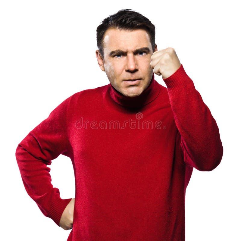 ilsken caucasian göra en gest man royaltyfri foto