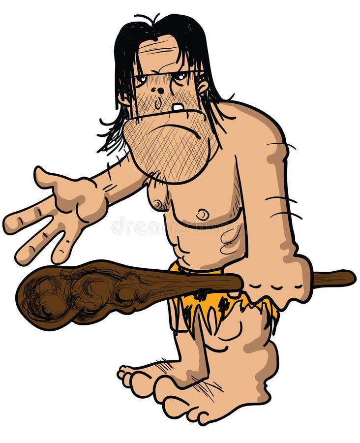 ilsken caveman royaltyfri illustrationer