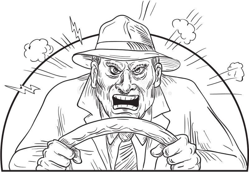 Ilsken chaufför i tokig vägursinne royaltyfri illustrationer