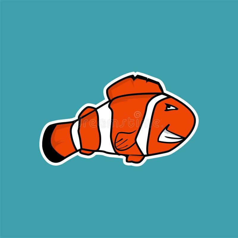 ilsken clownfisktecknad film royaltyfri illustrationer
