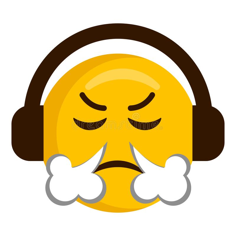 Ilsken emoji med hörlurarsymbolen vektor illustrationer