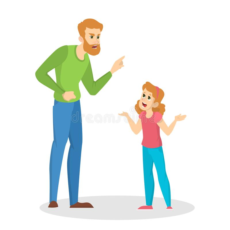 Ilsken förälder som skriker på ett ungt barn vektor illustrationer