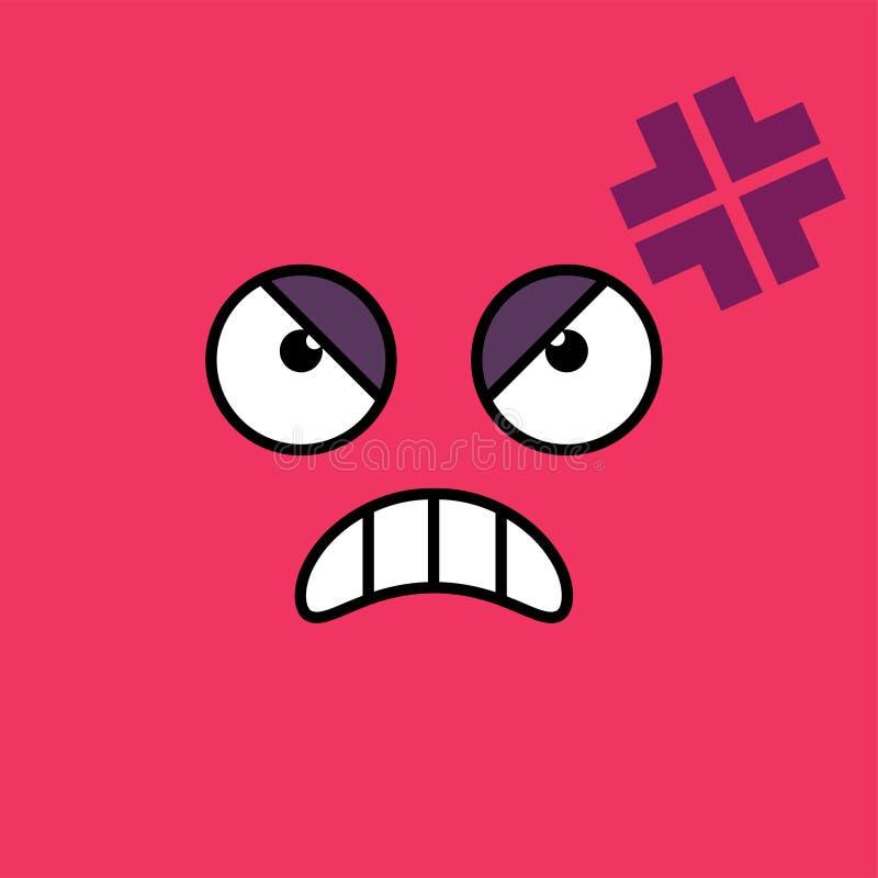 Ilsken förargad emojivektorillustration stock illustrationer