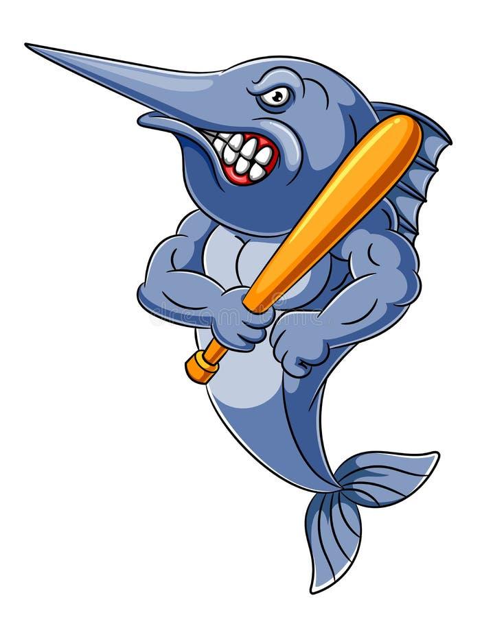Ilsken fisk som rymmer baseballpinnen stock illustrationer