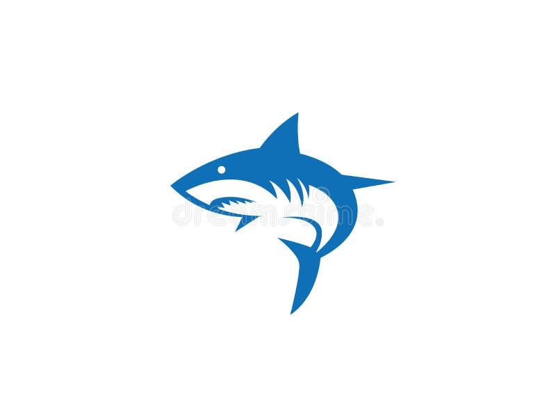 Ilsken fisklogo för blå haj stock illustrationer