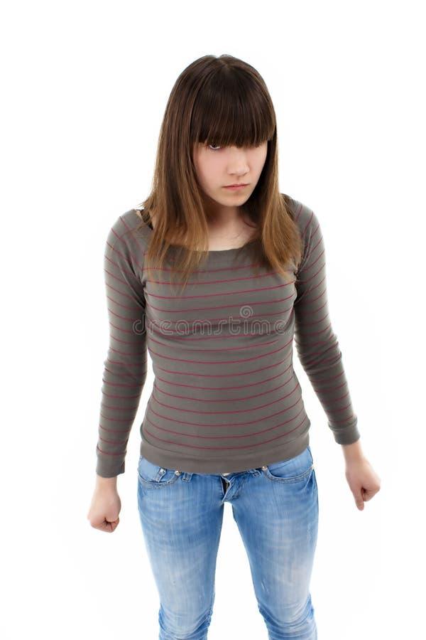 ilsken flicka som plattforer tonårs- royaltyfria foton