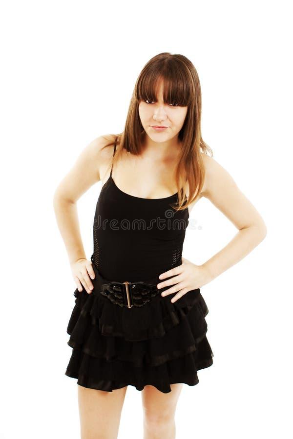 ilsken flicka som plattforer tonårs- royaltyfri fotografi