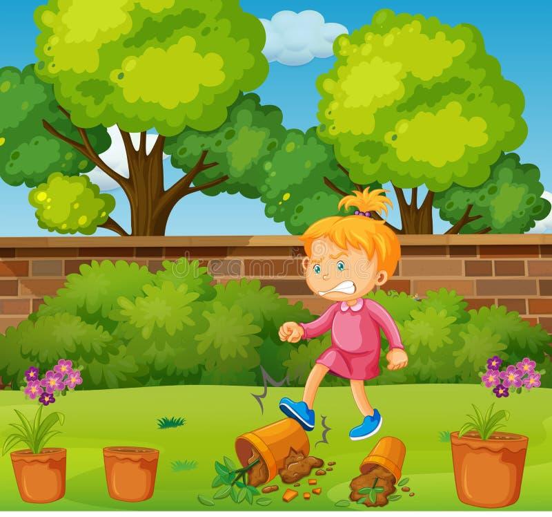 Ilsken flicka som sparkar lade in växter i trädgården stock illustrationer