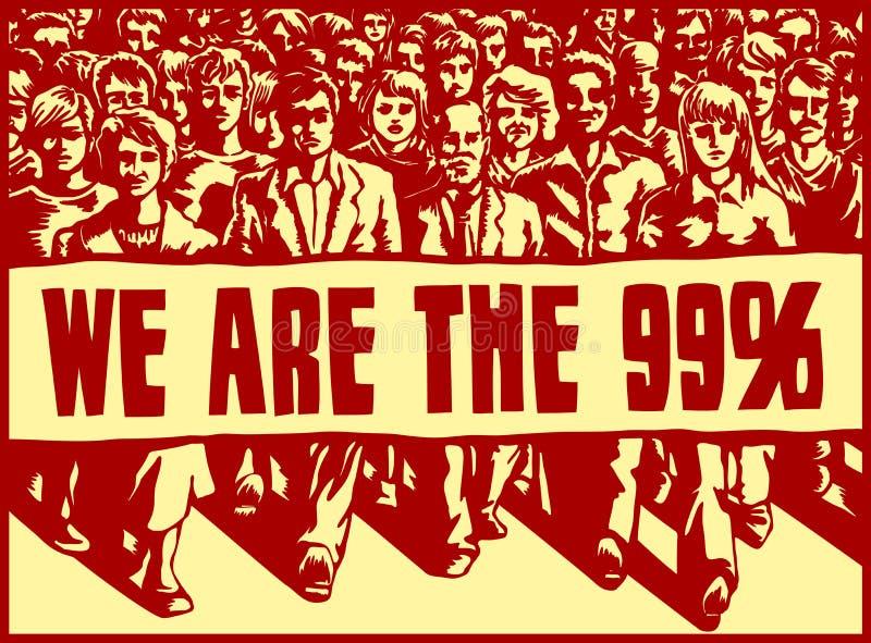 Ilsken folkhopmarsch med det politiska protesttecknet vektor illustrationer