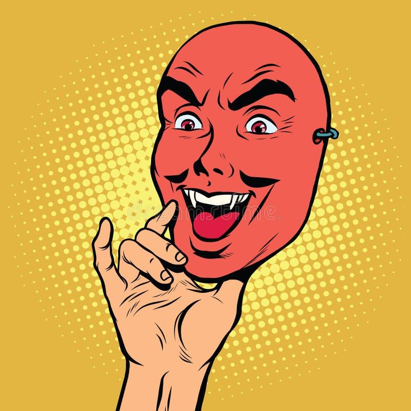 Ilsken framsidamaskering av en man, röd jäkel stock illustrationer