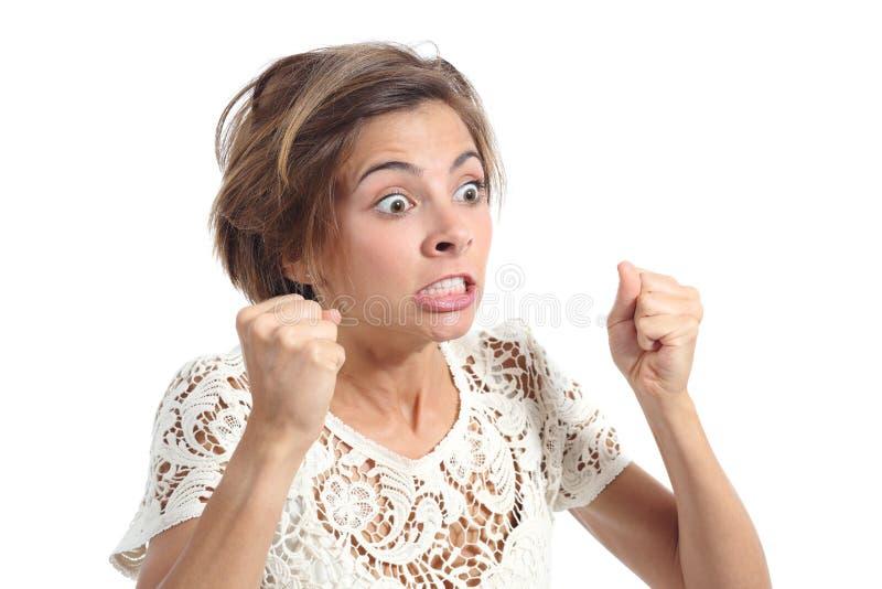Ilsken galen kvinna med ursinneuttryck arkivfoton