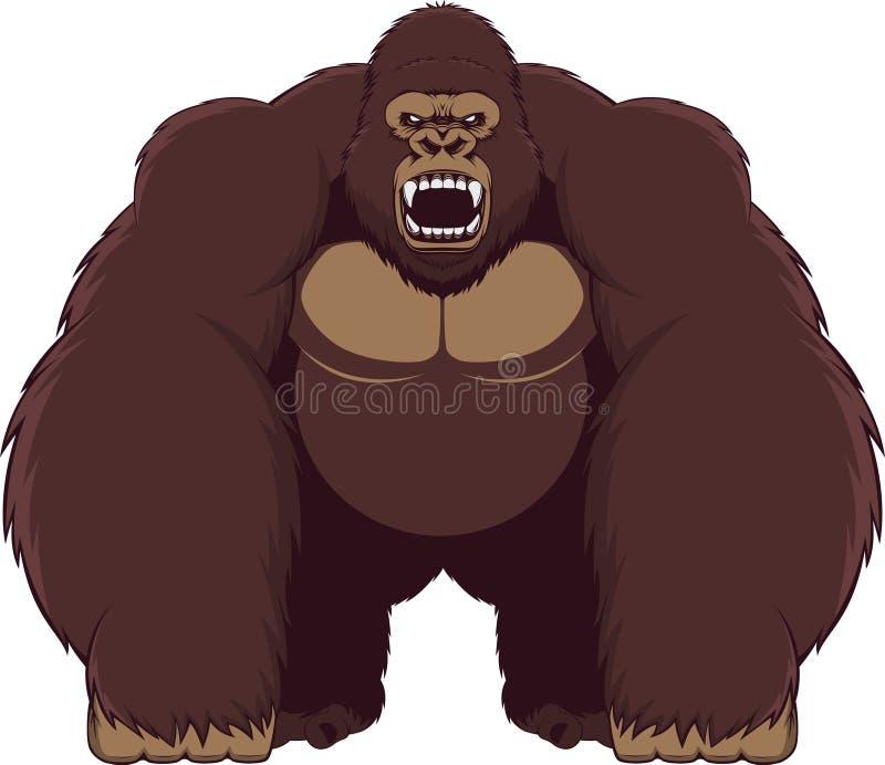 ilsken gorilla royaltyfri illustrationer