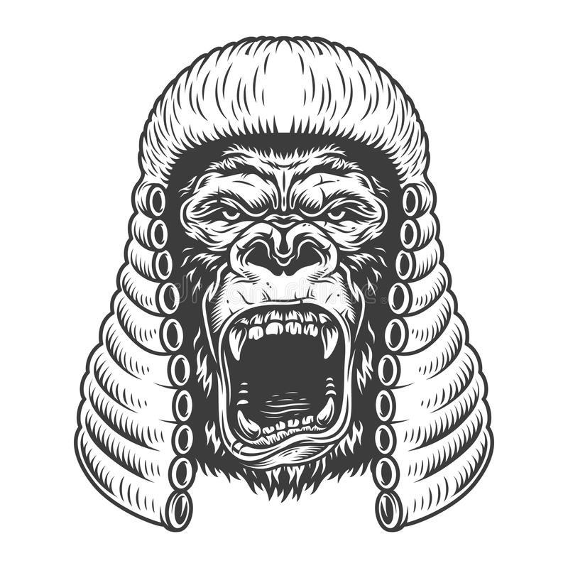 Ilsken gorilla i monokrom stil royaltyfri illustrationer