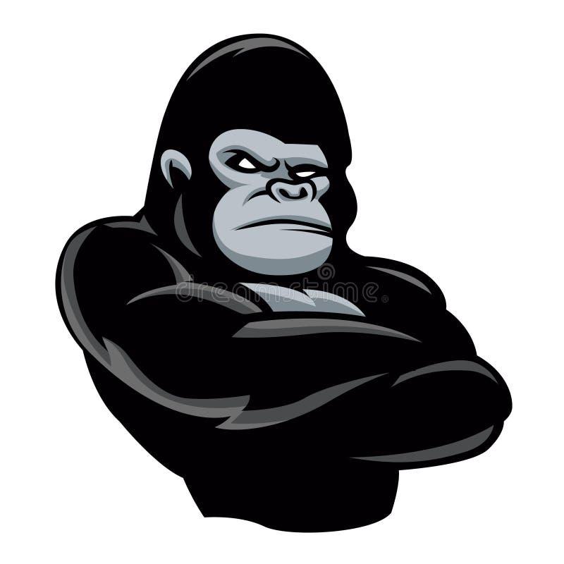 ilsken gorillasymbol royaltyfri illustrationer