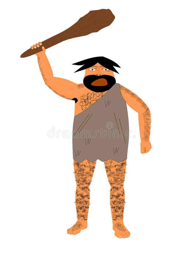 Ilsken grottmänniska royaltyfri illustrationer