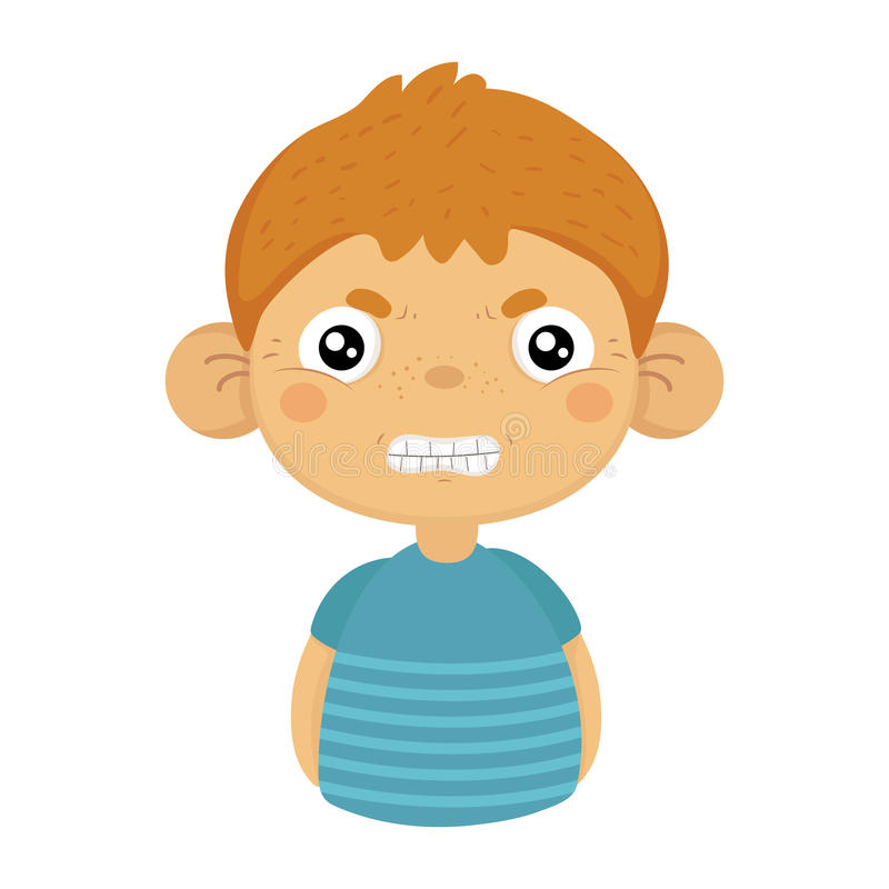 Ilsken gullig liten pojke med stora öron i den blåa T-tröja, Emoji stående av en gossebarn med emotionellt ansiktsuttryck stock illustrationer