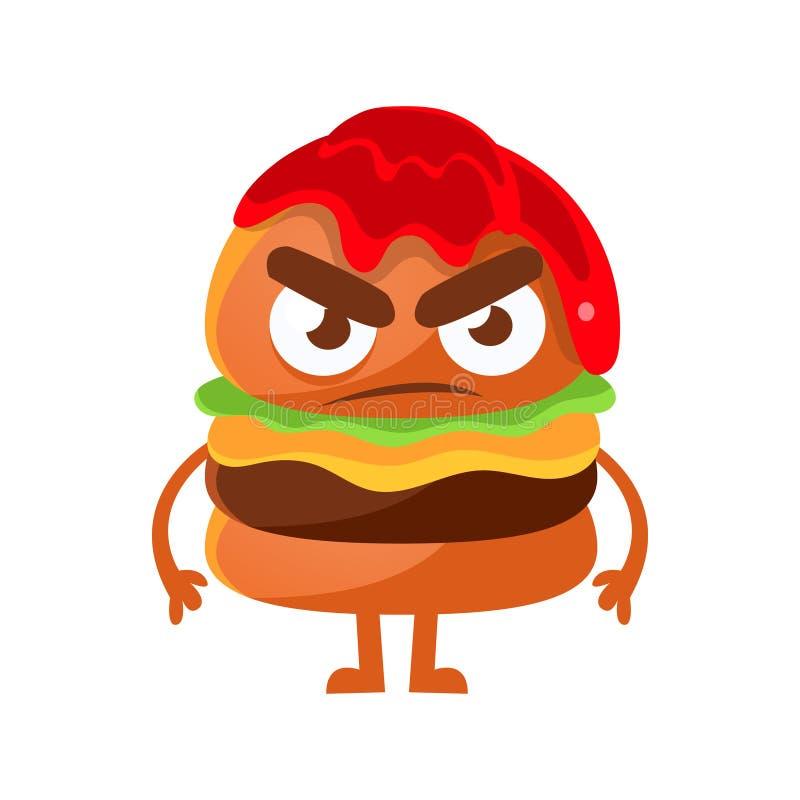 Ilsken hamburgare med ketchup Gullig illustration för vektor för tecken för tecknad filmsnabbmatemoji vektor illustrationer