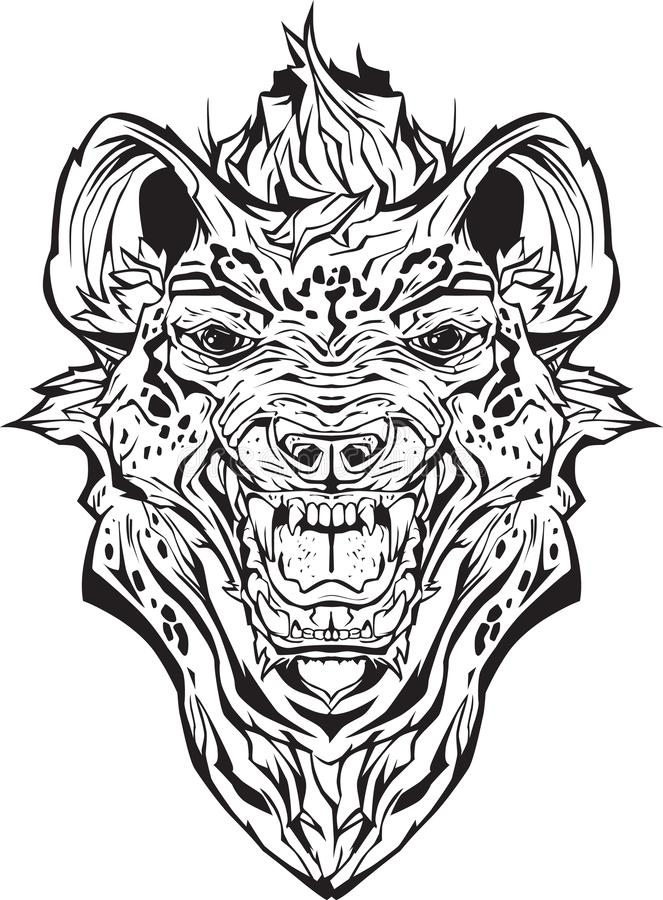 Ilsken hyena isolerat Färga sidan royaltyfri illustrationer