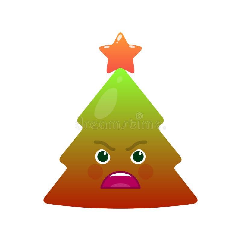 Ilsken isolerad emoticon för julträd stock illustrationer